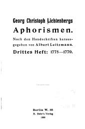 Georg Christoph Lichtenbergs Aphorismen: nach den handschriften, Band 3