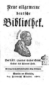 Neue allgemeine deutsche Bibliothek: Band 65