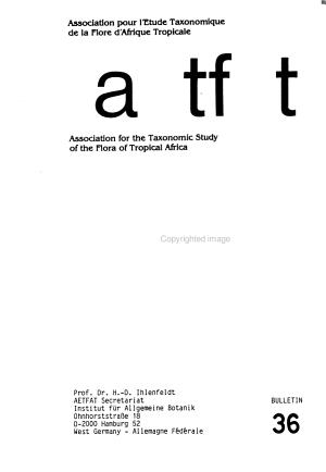 Bulletin   Association pour l   tude taxonomique de la flore d Afrique tropicale PDF