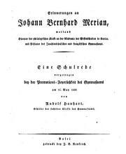 Erinnerungen an Johann Bernhard Merian PDF