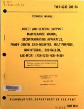 Direct and General Support Maintenance Manual: Decontaminating Apparatus, Power-driven, Skid-mounted, Multipurpose, Nonintegral, 500-gallon, ABC-M12A1 (FSN 4230-926-9488).
