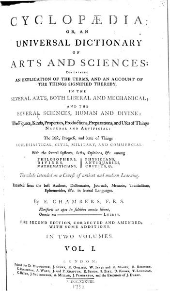 Download Cyclopaedia  Or  An Universal Dictionary Of Arts and Sciences Book