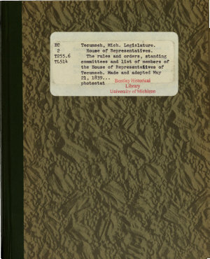 The Rules And Orders Standing Committees And List Of Members Of The House Of Representatives Of Tecumseh