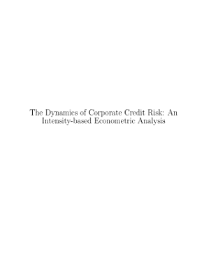 The dynamics of cooperate credit risk. An intensity-based econometric