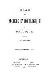 Bulletin et annales de la Société royale d'entomologie de Belgique: Volumes9à11
