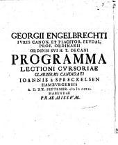 Programma lectioni cursoriae clarissimi candidati Ioannis a Spreckelsen ... praemissum