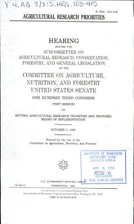 Agricultural Research Priorities PDF