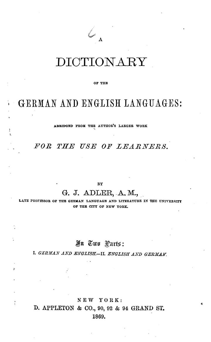 A Dictionary of the German and English Languages0