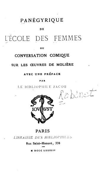 Download Pan  gyrique de L ecole Des Femmes Ou Conversation Comique Sur Les Oeuvres de Moli  re Book