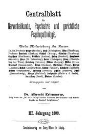 Zentralblatt für Nervenheilkunde und Psychiatrie: Band 3