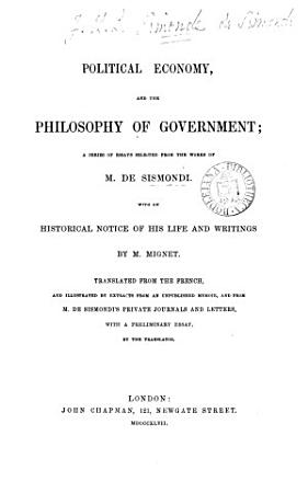Political Economy  and the Philosophy of Government PDF