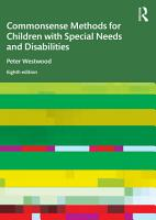 Commonsense Methods for Children with Special Needs and Disabilities PDF