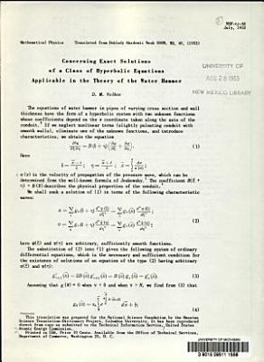 Concerning Exact Solutions of a Class of Hyperbolic Equations Applicable in the Theory of the Water Hammer PDF
