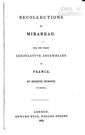 Recollections of Mirabeau: And of the Two First Legislative Assemblies of France