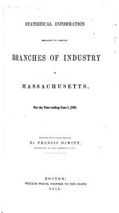 Statistical Information Relating to Certain Branches of Industry in Massachusetts: For the Year Ending June 1, 1855