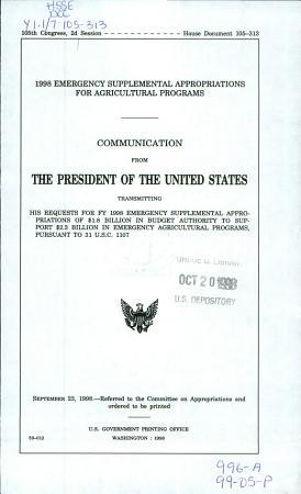 1998 Emergency Supplemental Appropriations for Agricultural Programs PDF
