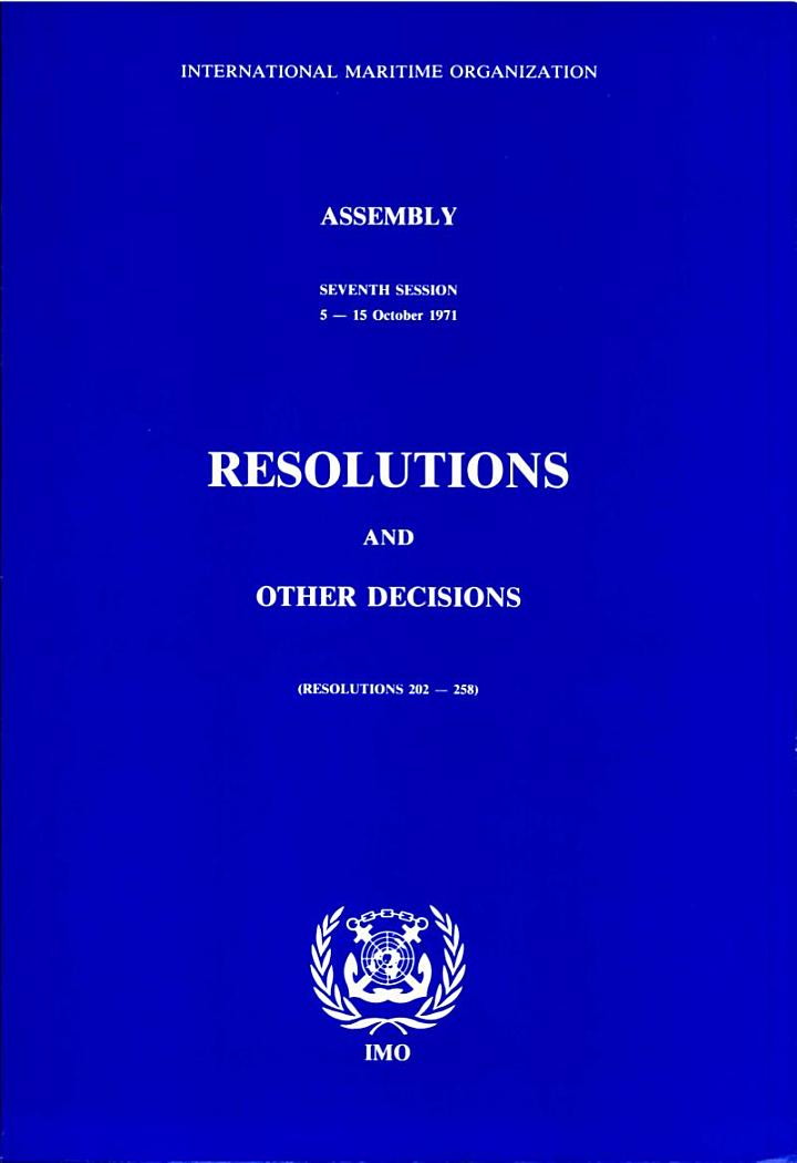 7th SESSION 1971 (Resolutions 202-258)