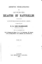 Archives néerlandaises des sciences exactes et naturelles: Volume12
