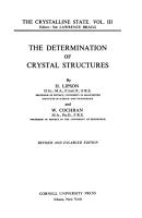 The Crystalline State  The determination of crystal structures  by H  Lipson and W  Cochran PDF