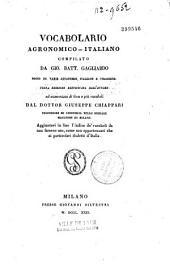 Vocabolario Agronomico-Italiano Compilato Da Gio bait. Gagliardo
