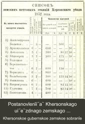 Postanovlenīi︠a︡ Khersonskago ui︠e︡zdnago zemskago sobranīi︠a︡ sozyva 1872 goda, chrezvychaĭnago 12 fevrali︠a︡ i ocherednago 4-8 senti︠a︡bri︠a︡: s prilozhenīi︠a︡mi