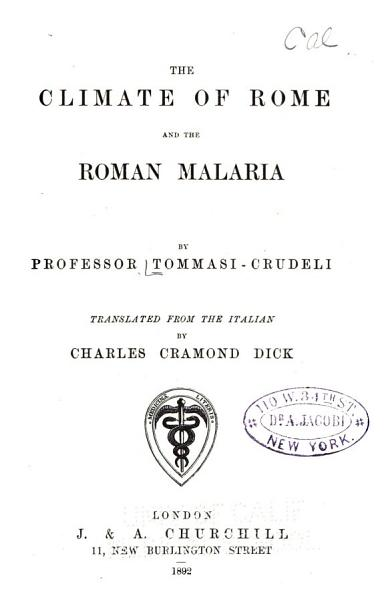 Download The Climate of Rome and the Roman Malaria Book