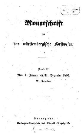 Monatschrift f  r das w  rttembergische Forstwesen PDF