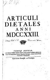 Articuli diaetales (Posonienses) anni 1723