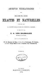 Archives néerlandaises des sciences exactes et naturelles: Volume9