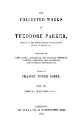 The Collected Works of Theodore Parker: Critical writings