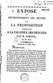 Exposé et développement des motifs de la proposition présentée à la Chambre des députés