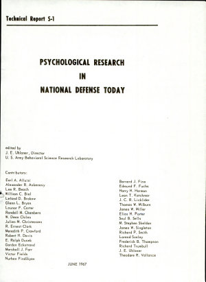 Psychological Research in National Defense Today PDF