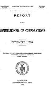 Annual Report of the Commissioner of Corporations to the Secretary of Commerce