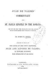 Juán de Valdés' Commentary Upon St. Paul's Epistle to the Romans