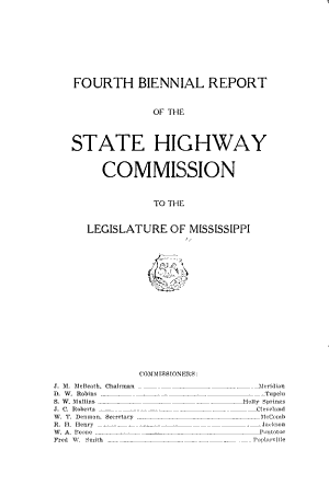 Biennial Report of the State Highway Commission to the Legislature of Mississippi