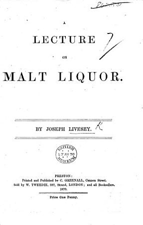 A Lecture on Malt Liquor PDF