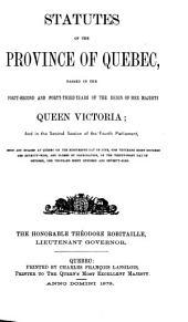 Statut de la province de Quebéc: Statute of the Province of Quebec, Issues 42-43