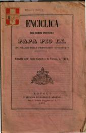 Enciclica del sommo pontefice papa Pio 9. col sillabo delle proposizioni condannate