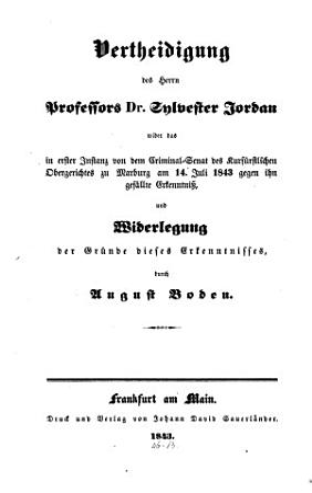 Vertheidigung des Herrn Professors Dr  Sylvester Jordan PDF