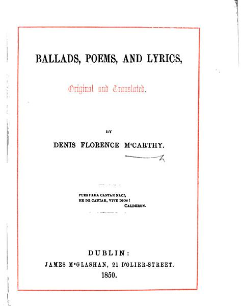 Download Ballads  Poems  and Lyrics  Original and Translated Book