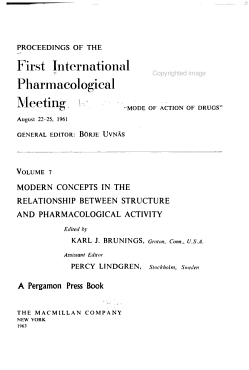 Proceedings of the First International Pharmacological Meeting  Modern concepts in the relationship between structure and pharmacological activity PDF