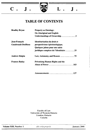 The Canadian Journal of Law and Jurisprudence