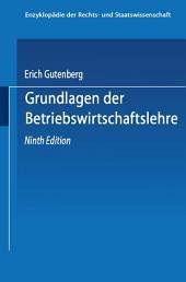 Grundlagen der Betriebswirtschaftslehre: Ausgabe 9