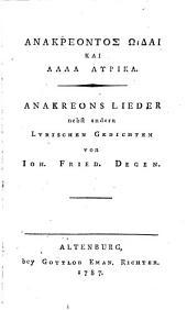 Anakreons Lieder: nebst andern lyrischen Gedichten