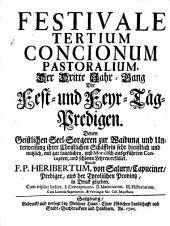 Festivale. Der Dritte Jahr-Gang Der Fest- und Feyr-Täg-Predigen: Volume 3