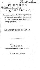 Œuvres de Condillac: La langue des calculs