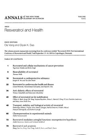 Resveratrol and Health, Volume 1215
