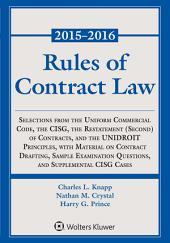 Rules of Contract Law, 2015-2016 Statutory Supplement
