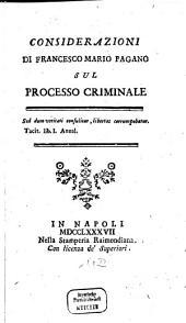 Considerazioni Di Francesco Mario Pagano Sul Processo Criminale