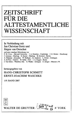 Zeitschrift f  r die alttestamentliche Wissenschaft PDF